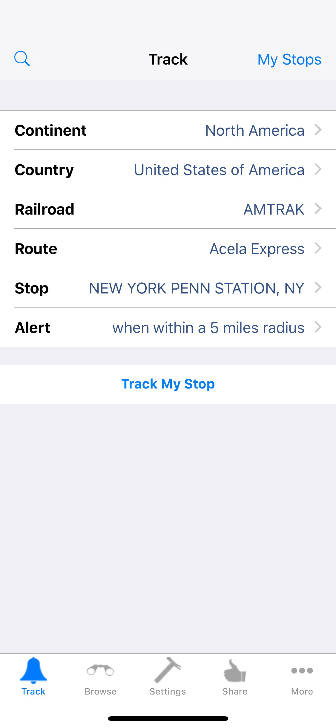 The Track option in TrackMyStop